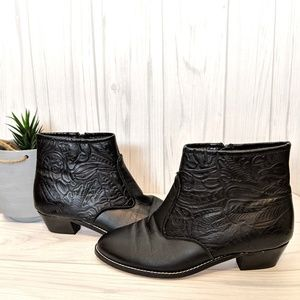 Vintage Tictactoes Black Leather Embossed Booties